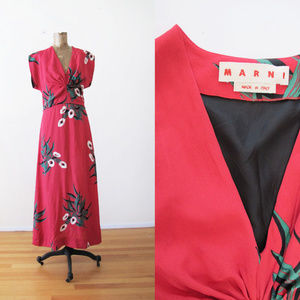 Marni Red Floral Maxi Dress Viscose 40 S M READ